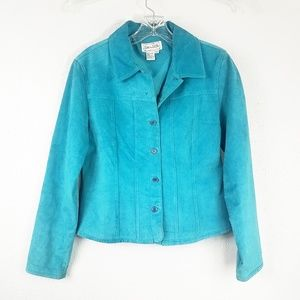 Live A Little Turquoise Womens Leather Jacket Coat
